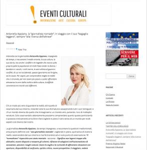 Antonella Appiano intervista su Eventi Culturali n 252 - dicembre 2014
