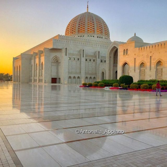 Sunset at Sultan Qaboos Grand Mosque Muscat Sultanate of Oman